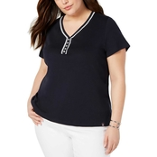 Tommy Hilfiger Plus Size Lace V Neck Tee