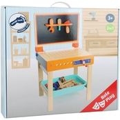 Small Foot Wooden Toys 2 in 1 Children's Workbench with Drawing Table Playset