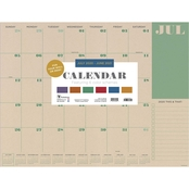 TF Publishing July 2020 to June 2021 Kraft Large Desk Pad Monthly Calendar