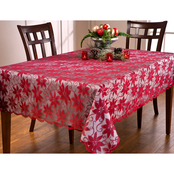 Benson Mills Poinsettia Ribbons and Lace Tablecloth, 60 x 104 in.