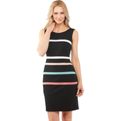 Connected Apparel Striped Sheath Dress
