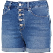 YMI Juniors High Rise Exposed Button Cuffed Shorts