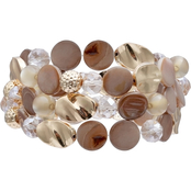 jules b Three Row Beaded Stretch Bracelet