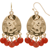 jules b Orange Zest Hammered Shakey Shell Earrings