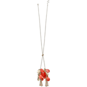 jules b Orange Zest Long Shakey Bead Necklace
