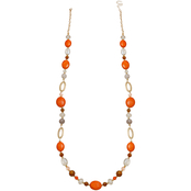 jules b Orange Zest Mixed Media Long Necklace