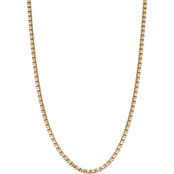 Black & Blue Jewelry Goldtone Flat Cut Rounded Box Chain Necklace