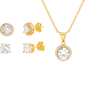 Cubic Zirconia Pendant and Earring Set