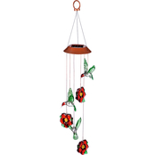Evergreen Color Changing Solar Mobile Hummingbird and Red Flower Mixed Icon