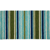 Evergreen Indoor/Outdoor Hooked Rug, Tranquil Stripes 42 in. x 24 in.