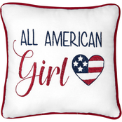 C & F Home All American Girl Pillow, 10  in. x 10 in. Red