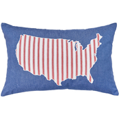 C & F Home USA Denim Pillow, 14 in. x 22 in. Blue