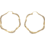 Vince Camuto Goldtone Pave Hoops