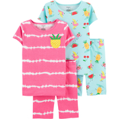 Carter's Little Girls Pineapple 4 pc. Snug Fit Cotton Pajamas