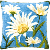 Evergreen Indoor/Outdoor Shasta Daisy Hooked Pillow