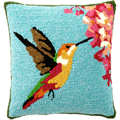 Evergreen 18 in. Indoor/Outdoor Hummingbird Hooked Pillow