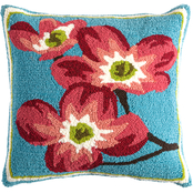 Evergreen 18 in. Indoor/Outdoor Dogwood Hooked Pillow