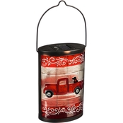 Evergreen Holiday Red Truck Handpainted Solar Glass Lantern