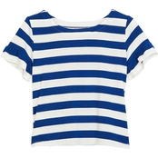 Gumballs Toddler Girls Stretch Knit Striped Top with Ruffle Sleeve Edge
