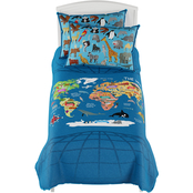 Hastings Home World Map Twin XL 3 pc. Comforter Set