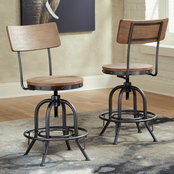 Signature Design by Ashley Pinnadel Swivel Counter Stool with Back 2 pk.