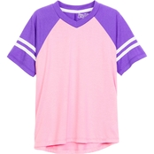Gumballs Toddler Girls Athletic V Neck Top with Striped Raglan Sleeves