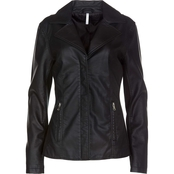Passports Missy Faux Leather Jacket With Rib Inset