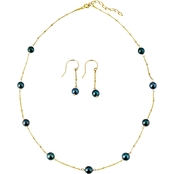 Sterling Silver Black 6 mm  Akoya Pearl Necklace and Earring in Yellow Gold Plated