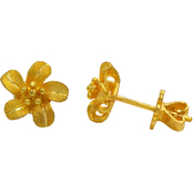 Robert Manse Designs 23K Thai Baht Gold Floral Pinwheel Earrings