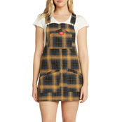 Dickies Girl Juniors Brown Duck Plaid Overall Dress