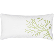 Levtex Home Biscayne Coral Green Embroidered Pillow