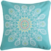 Levtex Home Laurel Coral Teal Medallion Pillow