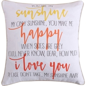 Levtex Home Laurel Coral Sunshine Happy Pillow