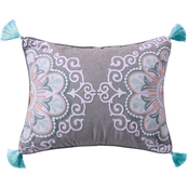 Levtex Home Josie Spa Crewel Medallion Tassel Pillow