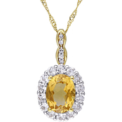 Sofia B. 14K Yellow Gold Citrine, White Topaz and Diamond Accent Halo Pendant