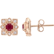 Sofia B. 10K Rose Gold Ruby and Diamond Earrings