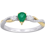 Sofia B. 1/3 CTW Pear Cut Emerald and 1/5 CTW Diamond Ring