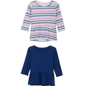 Gumballs Infant Girls Solid and Stripe Peplum Tops 2 pk.