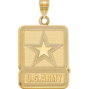 18K Gold Over Sterling Silver United States Army Logo Charm