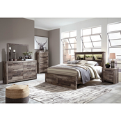 Benchcraft Derekson 5 pc. Bookcase Bedroom Set with 2 Drawer Bed