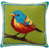 Evergreen Indoor/Outdoor Hooked Pillow, Bird on Branch 18 in. x 18 in.