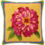 Evergreen Indoor/Outdoor Hooked Pillow, Zinnia 18 in. x 18 in.