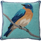 Evergreen Indoor/Outdoor Hooked Pillow, Bluebird 18 in. x 18 in.