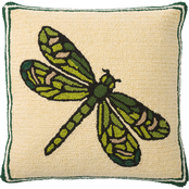 Evergreen Indoor/Outdoor Hooked Pillow, Dragonfly 18 in. x 18 in.