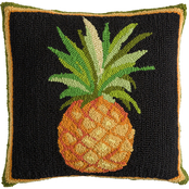 Evergreen Indoor/Outdoor Hooked Pillow, Pineapple 18 in. x 18 in.