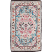 Evergreen Blue with Coral Digitally Printed Indoor/Outdoor Rug, 4 x 6 ft.