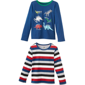 Buzz Cuts Little Boys Dino Screen Print and All Over Striped Ringer Tee 2 pk.