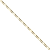 14K Yellow Gold 3.4mm Semi Solid Pave Curb Chain Bracelet