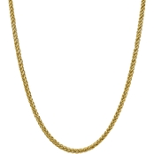 14K Yellow Gold 4.65mm Semi Solid 3 Wire Wheat Chain Necklace