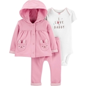 Carter's Infant Girls Bunny Little Cardigan 3 pc. Set